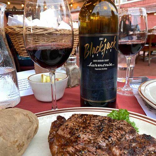 Steak with Blackjack Ranch Wine